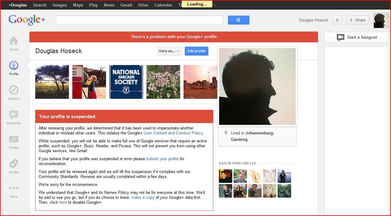 Google+ sucks – suspended for impersonating myself