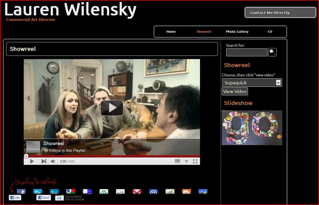 Screen capture of website laurenwilensky.co.za